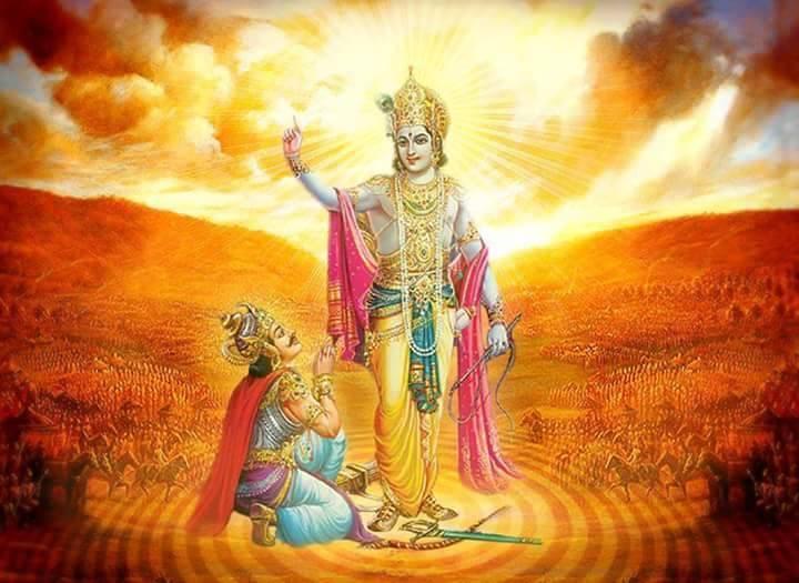 Krishna bhagwan with friend Arjuna