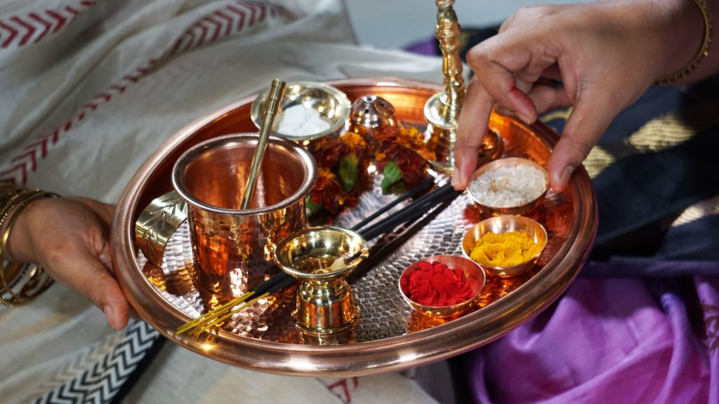 Copper thali for navratri puja